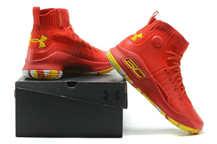 356f841cbe43b Under Armour Stephen Curry 4 University Red Yellow Men s Basketball ...