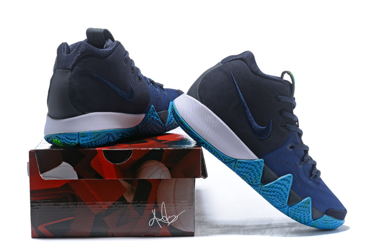 huge discount 976b7 e525a Nike Kyrie 4 Dark Obsidian Black Men s Basketball Shoes