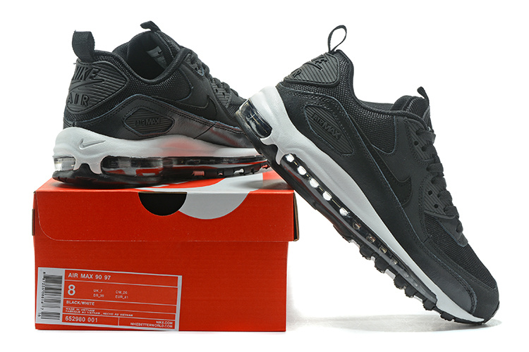 newest 49a0f 56810 Nike Air Max 90 97 Black White Men s Women s ...