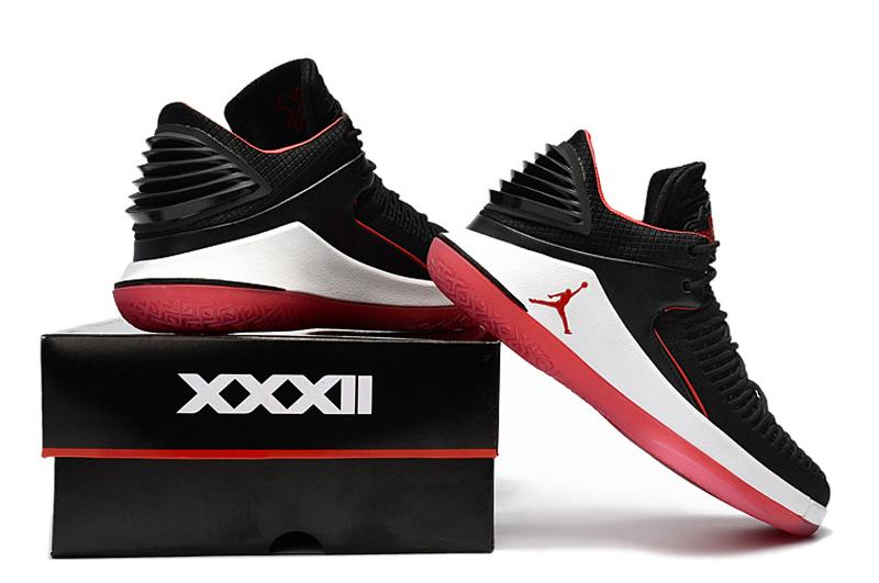0db42dee7615 Nike Air Jordan XXXII Low PF 32 Banned Black University Red AJ32 Men s  Basketball Shoes