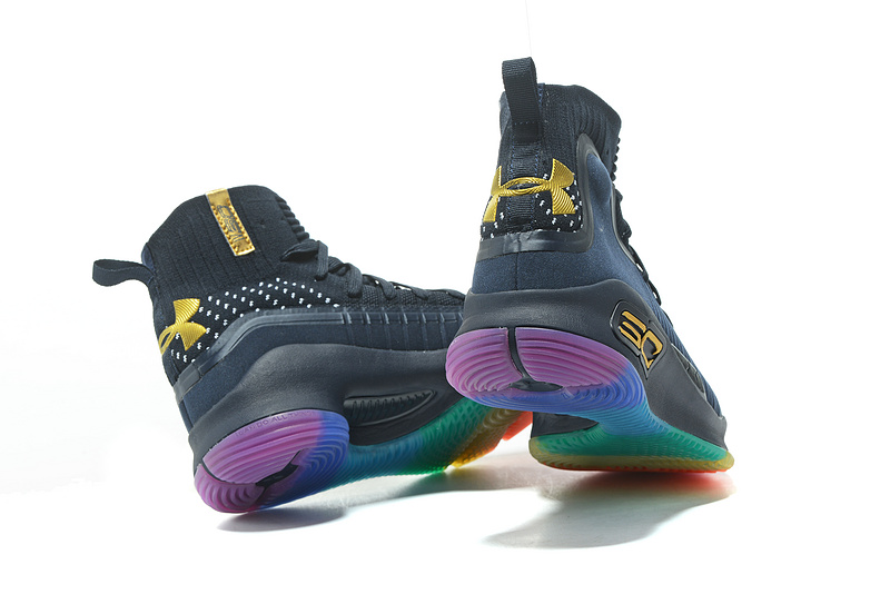32bace0aa8db Under Armour Stephen Curry 4 Navy Blue Gold Rainbow Men s Basketball Shoes