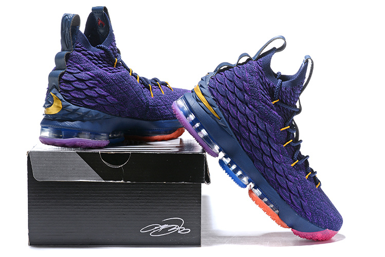 official photos 09170 c282b Nike Lebron 15 XV Rainbow Purple Men's Basketball Shoes NIKE-ST001720
