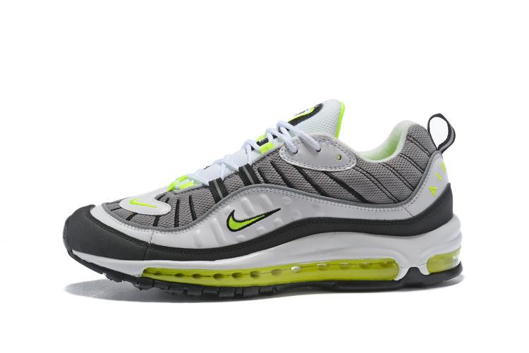 ad7b2f2a927b Nike Air Max 98 Cool Grey Volt Black Metallic Silver Men s Running Shoes