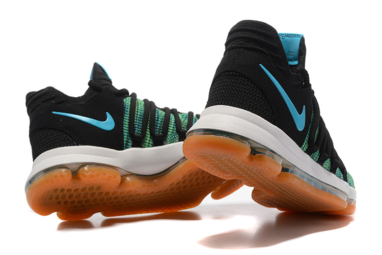 47950383f9a Nike KD 10 Kevin Durant Black Blue Jude Gum Birds Of Paradise Men s  Basketball Shoes