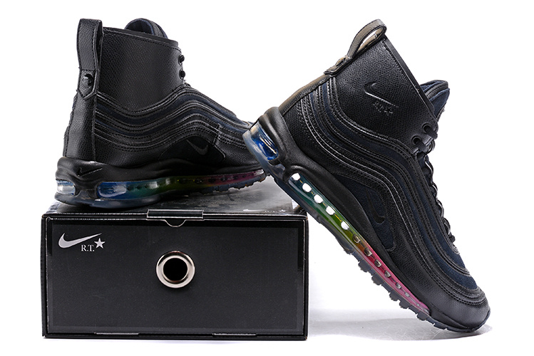 separation shoes fdbcd 89f89 Nike Air Max 97 Mid R. T. Triple Black Men's Running Shoes NIKE-ST000746