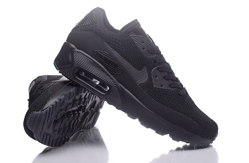 pretty nice 6bb38 0e96f Nike Air Max 90 Flyknit All Black Men's Running Shoes Sneakers NIKE-ST000228