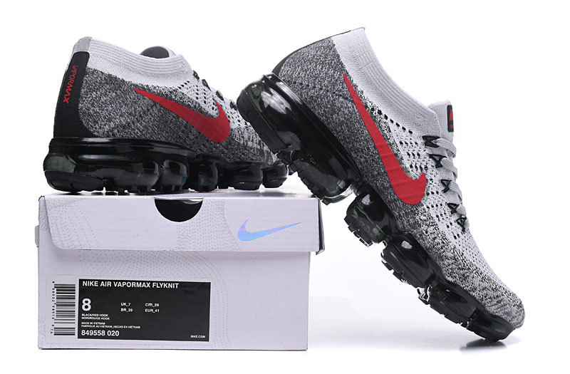 Nike Air VaporMax Flyknit Grey Red Black Men s Running Shoes 849558 ... f4c92c8bc