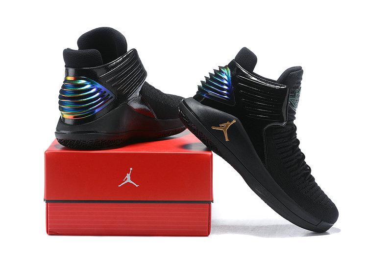 560d1ff8d65 Nike Air Jordan XXXII 32 Black Gold Spectrum Men's Basketball Shoes ...