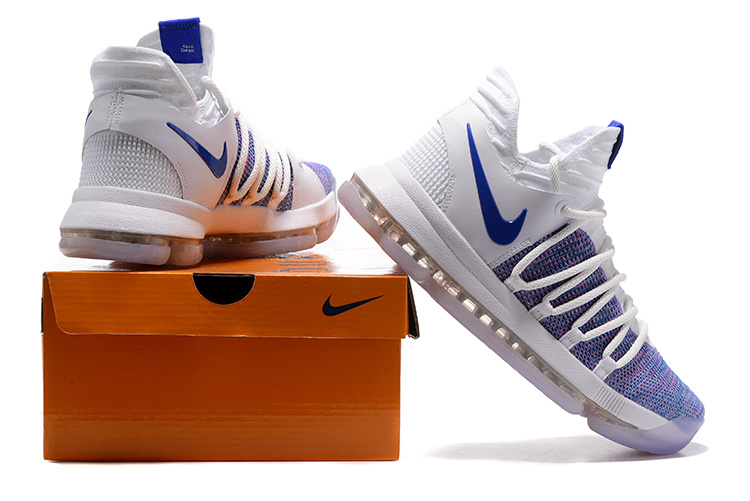 official photos 2b988 01d0d Nike KD 10 X Kevin Durant White Blue Men's Basketball Shoes NIKE-ST001459