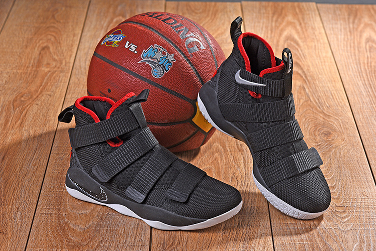 online retailer d84d3 2caa4 Nike LeBron Soldier 11 XI Black White Red Men's Basketball Shoes  NIKE-ST001677
