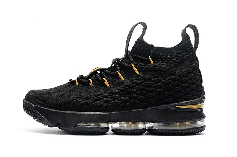 03f764e47efe8c Nike LeBron 15 Black Gold Men s Basketball Shoes NIKE-ST001753 ...