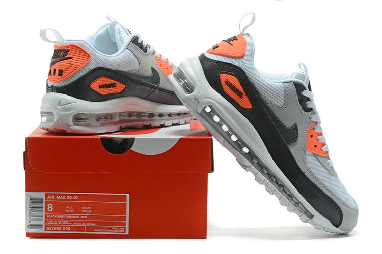 on sale 31331 5a594 Nike Air Max 90 97 White Wolf Grey Bright Crimson Men's Women's ...