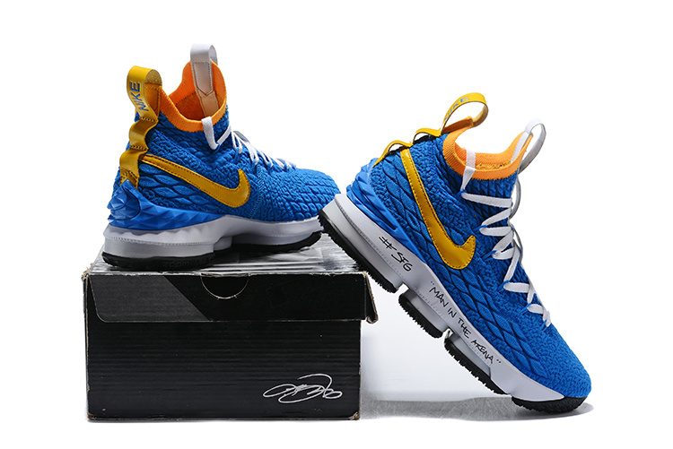reputable site 4ddf3 08695 Nike Lebron Watch Lebron 15 Waffle Photo Blue Total Yellow Men's Basketball  Shoes NIKE-ST001747