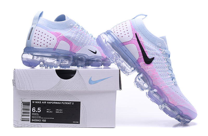 wholesale dealer 2c4dc 6f685 Nike Air VaporMax Flyknit 2 White Hydrogen Blue Pink Women's Running Shoes  942843-102