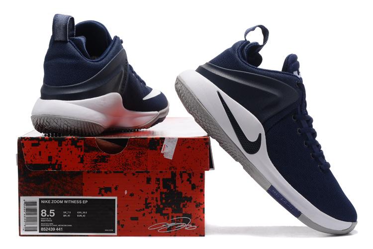new style 2fde3 eca6c Nike Zoom Witness EP Lebron James White Midnight Navy Blue Men's Basketball  Shoes 852439-441
