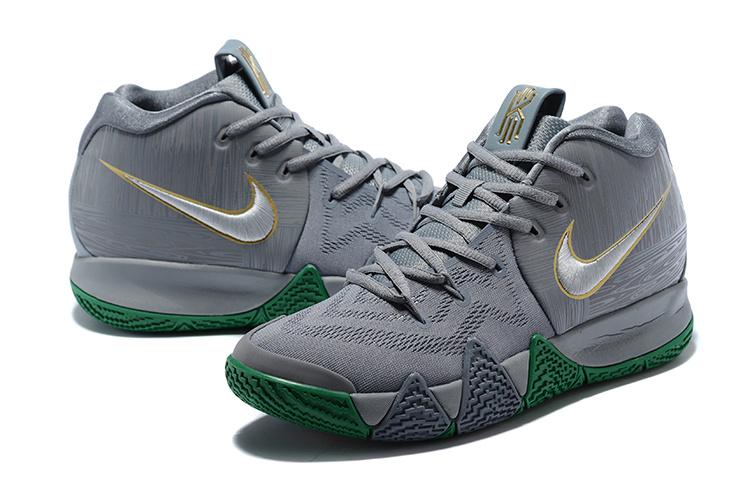 newest 6a63b f9299 Nike Kyrie 4 Flat Silver Metallic Gold Flat Silver Men's Basketball Shoes  943806-001a