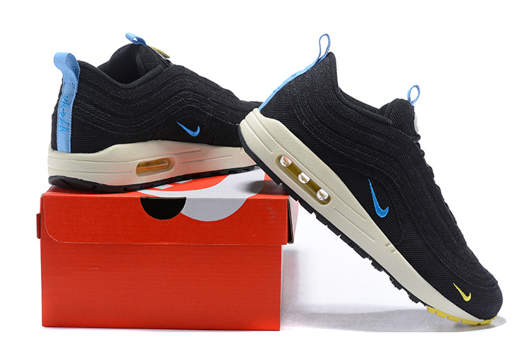 half off f9adc e9ad1 Nike Air Max 97/1 Sean Wotherspoon Black Blue White Men's Running Shoes  NIKE-ST001230