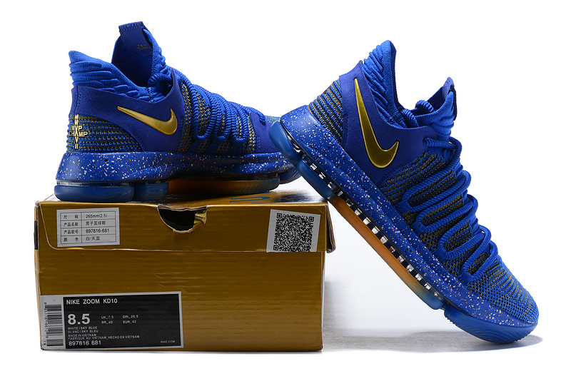 pretty nice ac9f2 2917b Nike Zoom KD 10 LMTD EP Finals Royal Blue Gold Men's Basketball Shoes  NIKE-ST001437