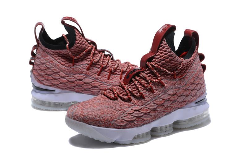 the best attitude 30acb aa0d5 Nike Lebron 15 XV Burgundy White Men's Basketball Shoes 897648-600