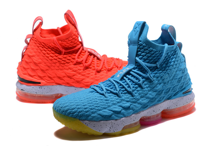 a290b3027b8 Nike Lebron 15 XV Ice Fire Blue Red Men s Basketball Shoes NIKE ...