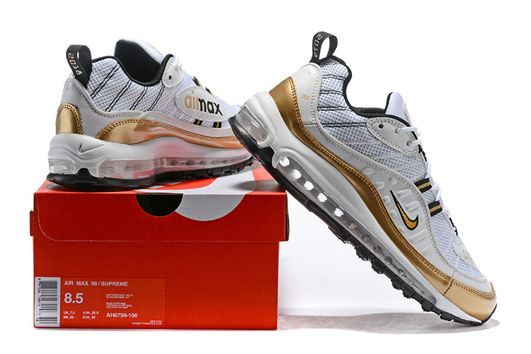 huge selection of df5e2 802a0 Nike Air Max 98 UK GMT Summit White Metallic Gold ...