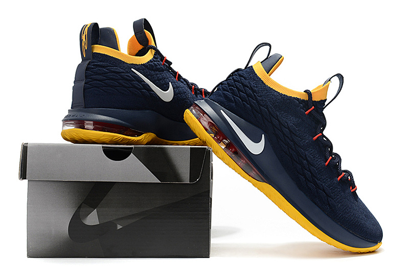finest selection cdccf 557e9 Nike LeBron 15 Low Navy Blue Yellow Men's Basketball Shoes NIKE-ST001870