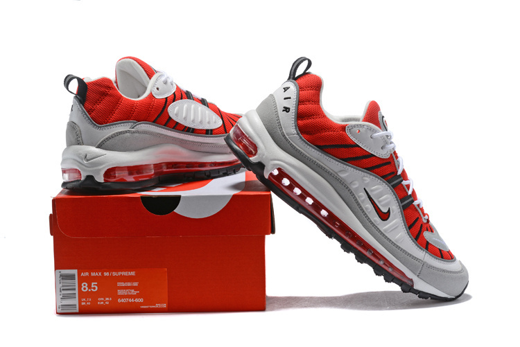 8ed94b5db1 Nike Air Max 98 University Red White Silver Men's Running Shoes ...