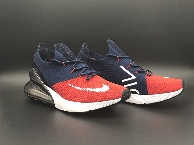 Nike Air Max 270 Flyknit Navy Blue Red White Men s Running Shoes ... 30aa8cf45