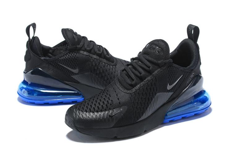 buy online 86b58 a1613 Nike Air Max 270 Flyknit Black Blue Men's Running Shoes AH8050-005