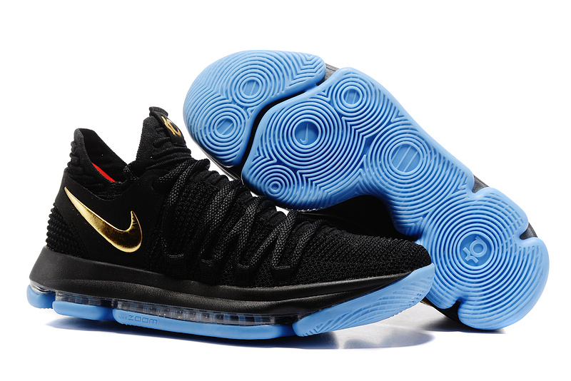 low priced e6f02 7e195 Nike Zoom KD 10 Limited EP Black Blue Gold Men s Basketball Shoes