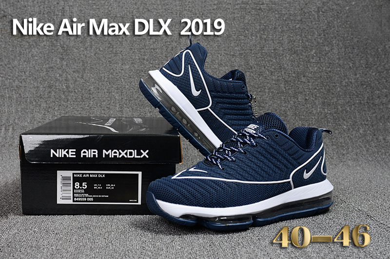 89c3bb00827 Nike Air Max DLX 2019 Navy Blue White Men s Running Shoes 849559-005 ...