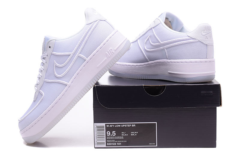 low priced 29472 8a3ec Nike Air Force 1 Low Upstep BR White Glacier Blue Men's Women's Running  Shoes Sneakers 833123-101