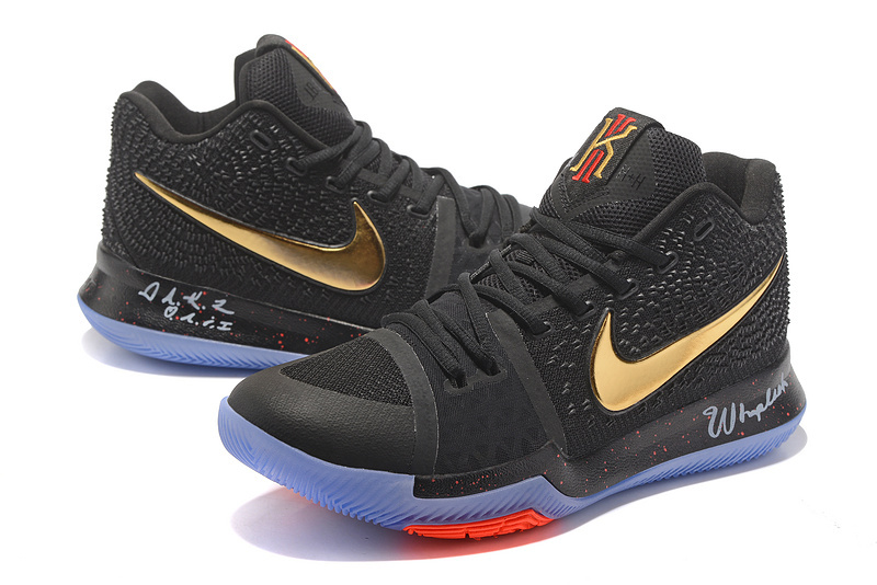 Nike Kyrie Irving 3 Black Gold Red Men s Basketball Shoes NIKE ... a4f6c42ecd0c