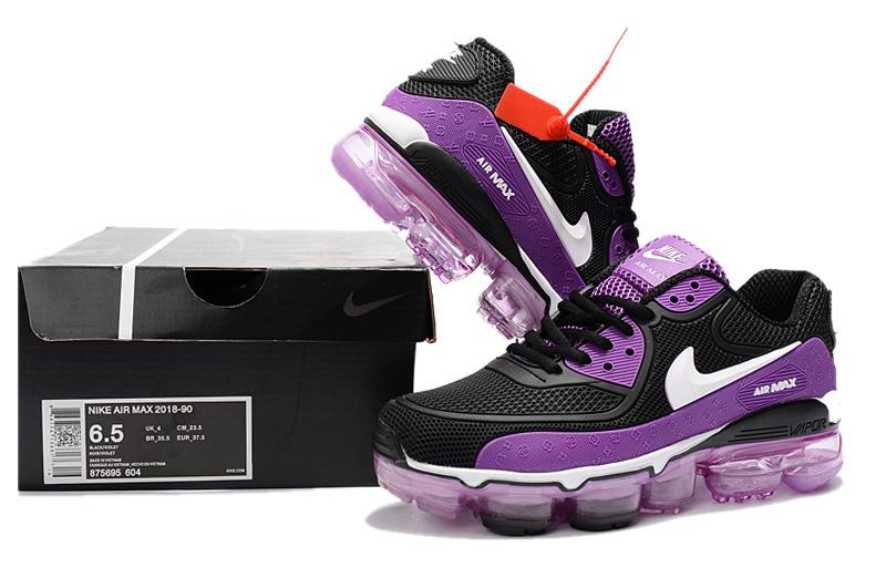 brand new 1997d c95bb Off White x Nike Air Max 90 KPU Black Purple White 875695 604 Women's  Running Shoes Sneakers 875695-604