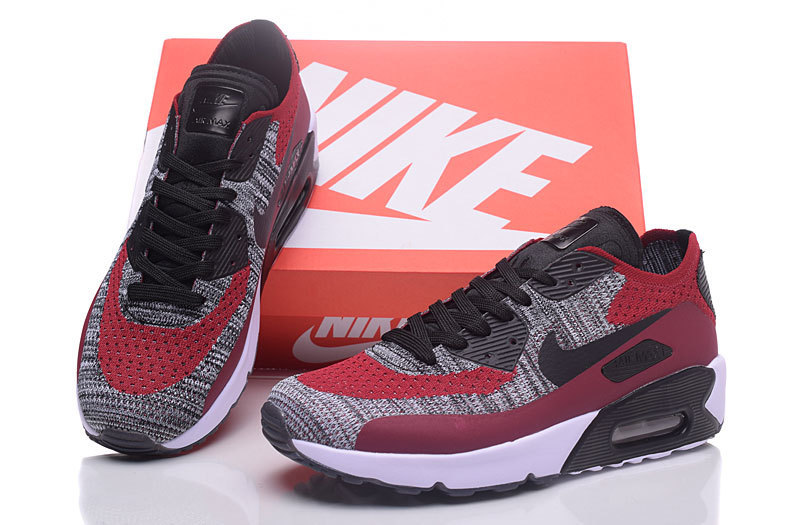 super popular 7ae67 601e9 Nike Air Max 90 Flyknit Grey Black Red Men's Running Shoes Sneakers  NIKE-ST000225