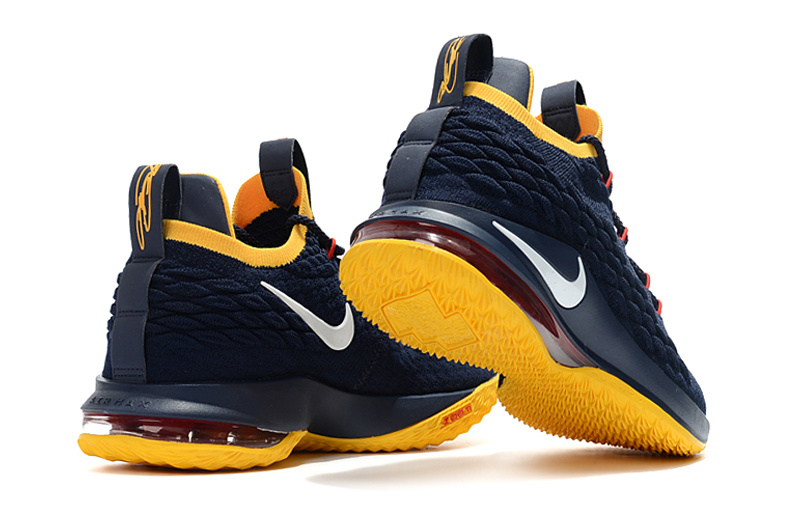 0319cfe9a8d Nike LeBron 15 Low Navy Blue Yellow Men s Basketball Shoes NIKE ...