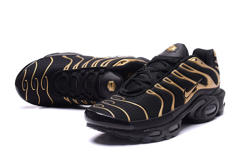 release date 1765b 29106 Nike Air Max Plus TXT Gold Black Men's Running Shoes NIKE-ST000951