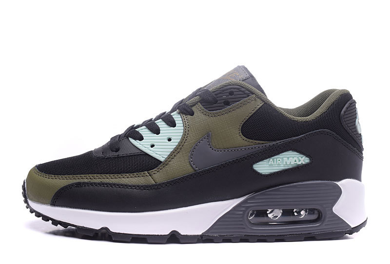 brand new 7c431 a79e0 Nike Air Max 90 Essential Black Army Green Men s Women s Running Shoes  Sneakers