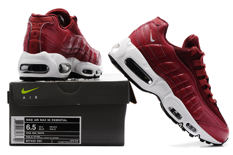 low priced a710c ddce4 Nike Air Max 95 Essential Burgundy White 807443 090 Women s Running Shoes  807443-090   WithTheSale.com
