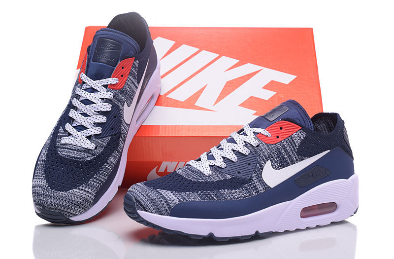 online store 7dcbe 36291 Nike Air Max 90 Flyknit Grey Deeo Blue White Red Men's Running Shoes  Sneakers NIKE-ST000227
