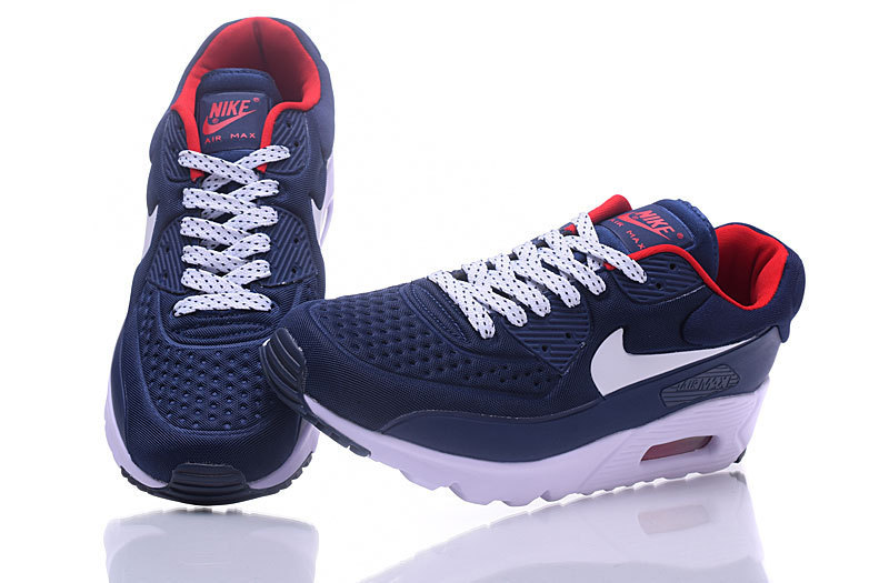 the best attitude 1c892 3384f Nike Air Max 90 Ultra SE Premium Navy Blue White Red Men s Running Shoes  Sneakers