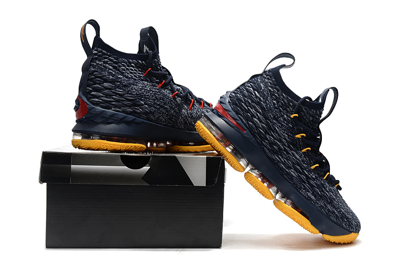 online store 47384 c91ce Nike LeBron 15 Navy Blue Yellow Men s Basketball Shoes