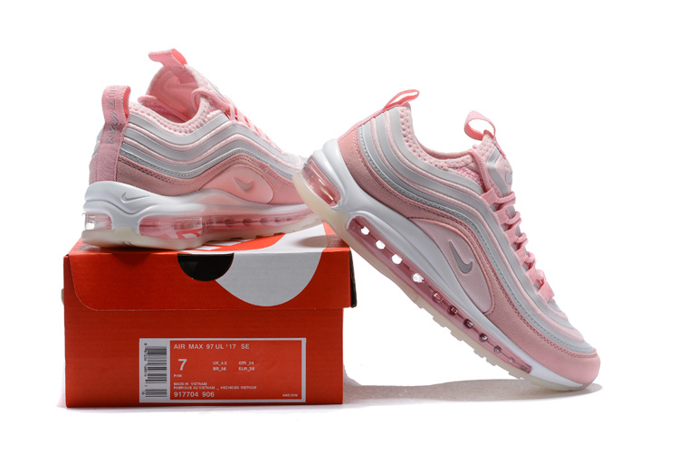 Nike Air Max 97 Ultra 17 Se Pink Grey White Women's Running Shoes NIKE ST000731