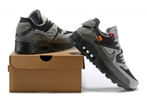 meet 8663e 97f85 OFF-WHITE x Nike Air Max 90 Wolf Grey Black Men s Running Shoes Sneakers