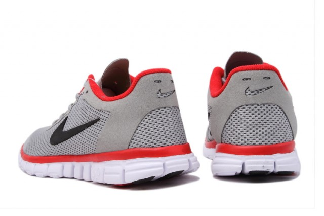 new style aa22a 633fb Nike Free 3. 0 V2 Wolf Grey Red Black White Mens Running Shoes
