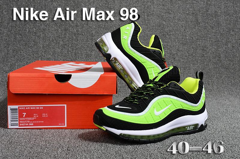 timeless design 2ad26 f265e Nike Air Max 98 QS KPU Black Green White 640744 066 Men's Running Shoes  640744-066