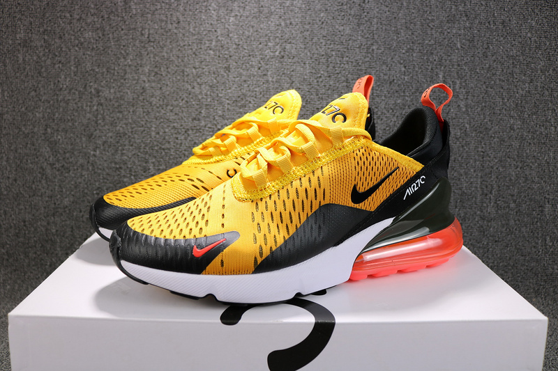 Nike Air Max 270 Flyknit Black University Gold AH8050 004 Men s ... 0b2e73c89