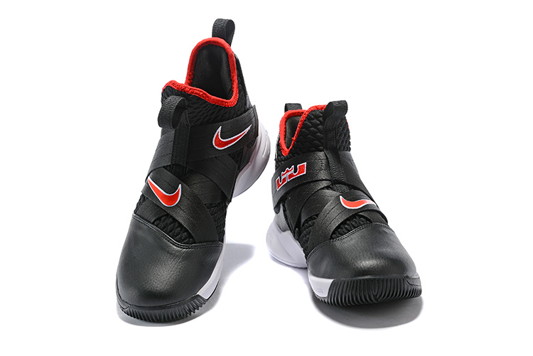 reputable site da2c5 1fc82 Nike LeBron Soldier 12 Bred Black White University Red AO2609 001 Men's  Basketball Shoes AO2609-001