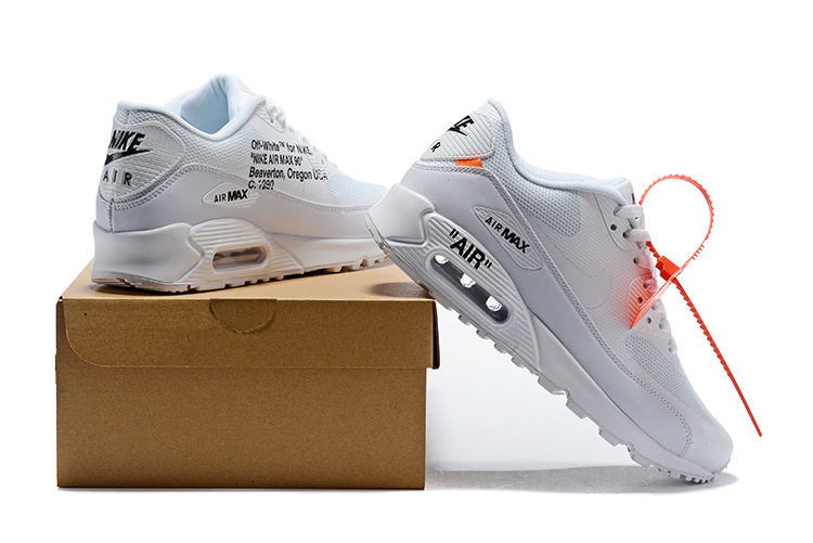 buy online ee201 6798c OFF-WHITE x Nike Air Max 90 Triple White Men's Women's Running Shoes  Sneakers NIKE-ST002366