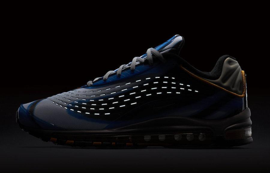 99da87eb50ec76 Dazzling Nike Air Max Deluxe 99 Photo Blue Wolf Grey Orange Peel Black  AJ7831 401 Men s